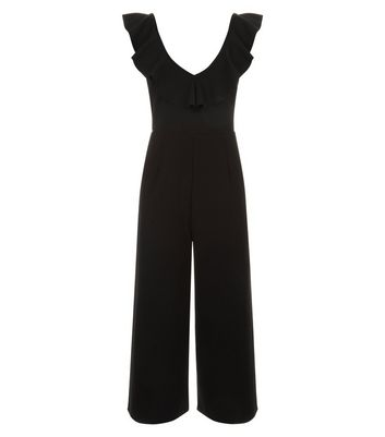 Cameo Rose Black Frill Neck Culotte Jumpsuit New Look