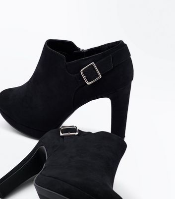 Wide Fit Black Suedette Buckle Side Shoe Boots New Look