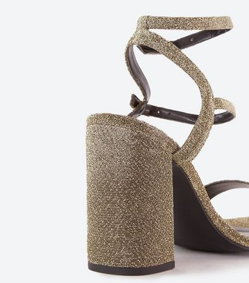 Wide Fit Gold Glitter Double Strap Block Heel Sandals New Look