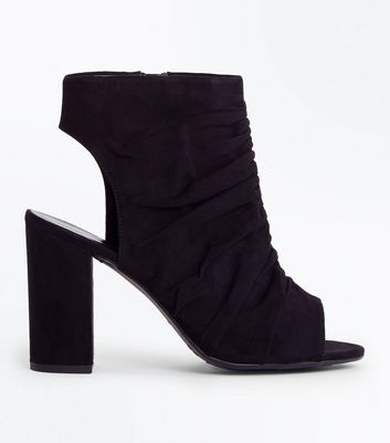 Wide Fit Black Suedette Ruched Front Block Heels New Look