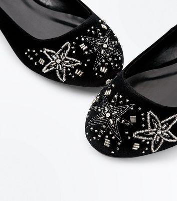 Wide Fit Black Velvet Star Embellished Pumps New Look