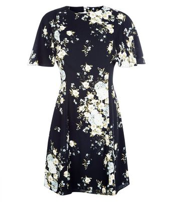 Black Floral Flare Sleeve Swing Dress New Look