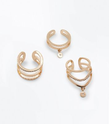 3 Pack Gold Charm Front Rings New Look