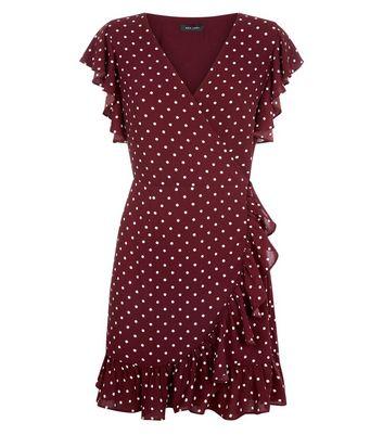 Red Polka Dot Ruffle Wrap Dress New Look