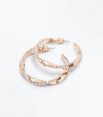 Gold Gem Embellished Twist Hoop Earrings New Look