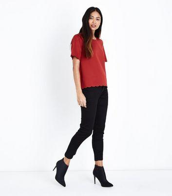Petite Rust Scallop Hem Scuba T-Shirt New Look