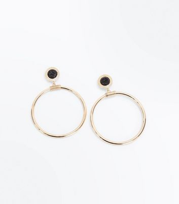 Gold Glitter Hoop Stud Earrings New Look