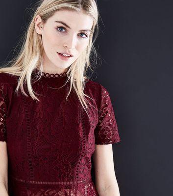 Tall Burgundy Mixed Lace Peplum Hem Top New Look