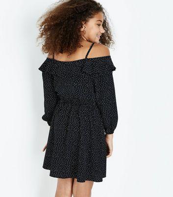 Teens Black Polka Dot Cold Shoulder Dress New Look