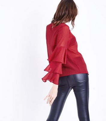 Red Spot Mesh Layered Long Sleeve Top New Look