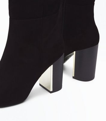 Black Suedette Metal Trim Heel Knee High Boots New Look