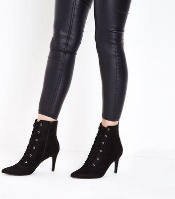 Black Suedette Lace Up Stiletto Shoe Boots New Look