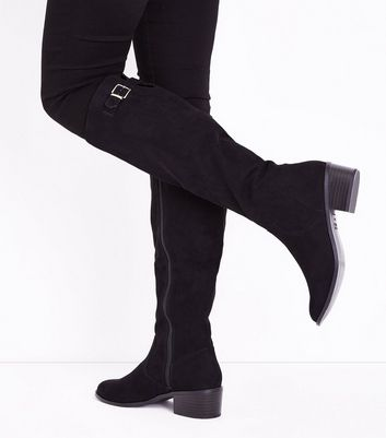 Black Comfort Suedette Block Heel Knee High Boots New Look