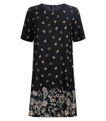 Apricot Black Leaf Print Swing Dress New Look
