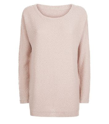 Apricot Shell Pink Crochet Sleeve Jumper New Look