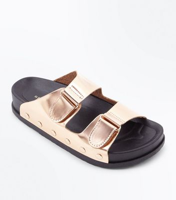 Rose Gold Double Strap Stud Side Sliders New Look