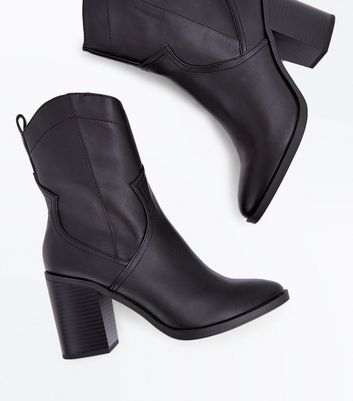 Black Block Heel Western Calf Boots New Look