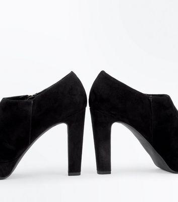 Black Suedette Zip Side Shoe Boots New Look