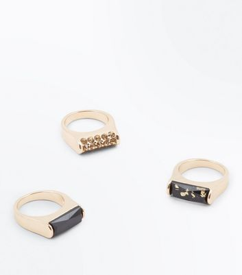 3 Pack Black and Gold Flecked Gem Rings New Look