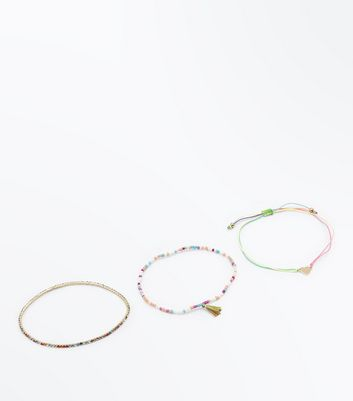 3 Pack Multi Coloured Beaded Anklets New Look