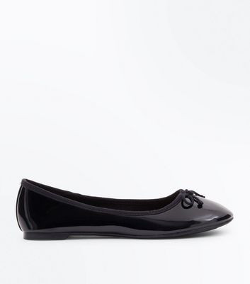 Black Patent Leather Look Ballet Pumps New Look