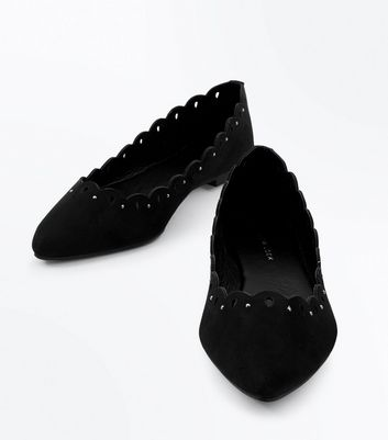 Black Suedette Studded Cut Out Pointed Pumps New Look