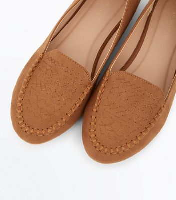 Tan Suedette Cross Stitch Embroidered Loafers New Look
