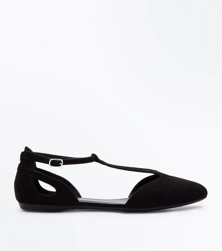 4fb294e8167 Black Suedette T-Bar Pointed Pumps Add to Saved Items Remove from Saved  Items