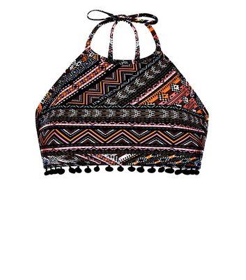 Tall Black Neon Aztec Pattern Pom Pom High Neck Bikini Top New Look