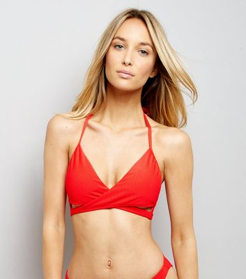 Red Ribbed Wrap Front Bikini Top New Look