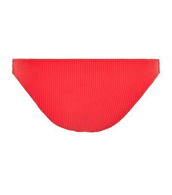 Red Ribbed Bikini Bottoms New Look