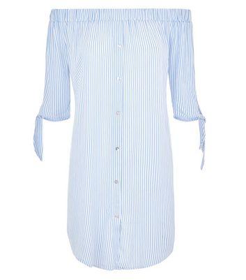 Blue Stripe Bardot Neck Beach Dress New Look