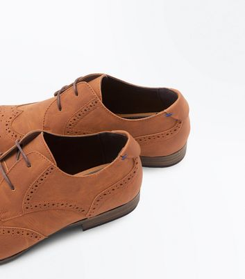 Tan Perforated Lace Up Brogues New Look