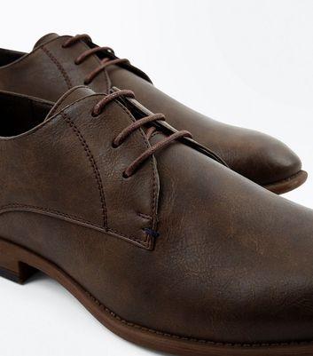 Dark Brown Stitch Side Derby Shoes New Look
