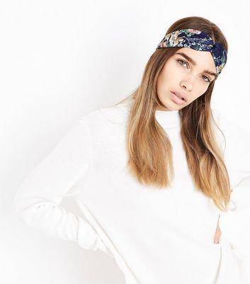 Navy Floral Pattern Headband New Look
