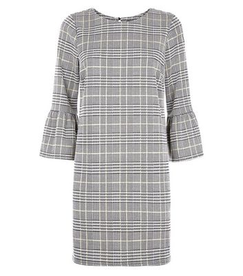 Grey Check Bell Sleeve Tunic Dress New Look