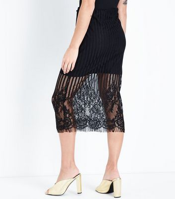 Black Lace Panel Midi Skirt New Look