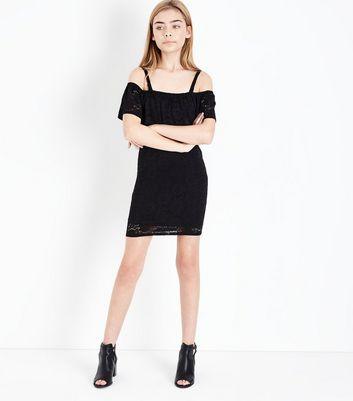Teens Black Lace Bardot Neck Bodycon New Look