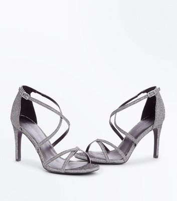 Silver Glitter Strappy Stiletto Heeled Sandals New Look