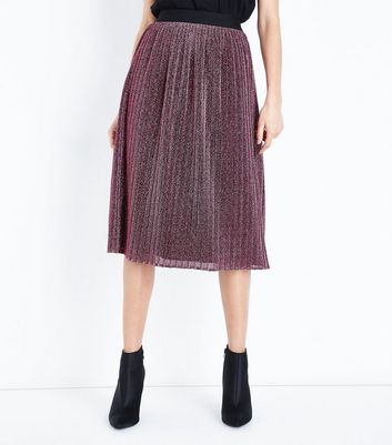 Pink Glitter Pleated Midi Skirt New Look