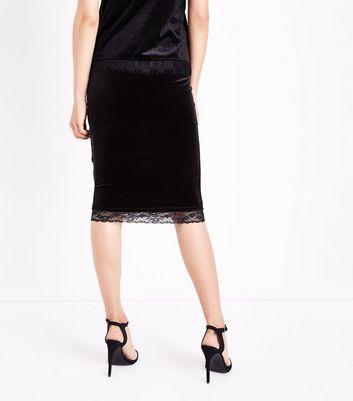 Black Velvet Lace Hem Pencil Skirt New Look