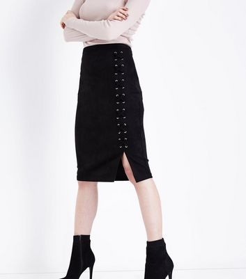 Black Suedette Lace Up Pencil Skirt New Look