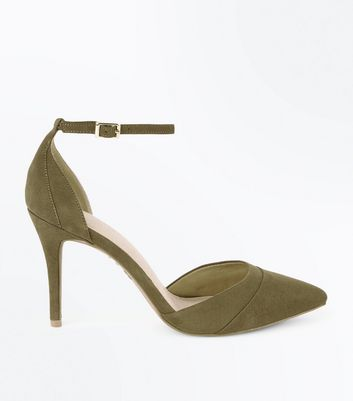 Khaki Comfort Flex Suedette Pointed Court Shoes New Look