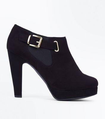 Black Comfort Suedette Platform Buckle Side Shoe Boots New Look