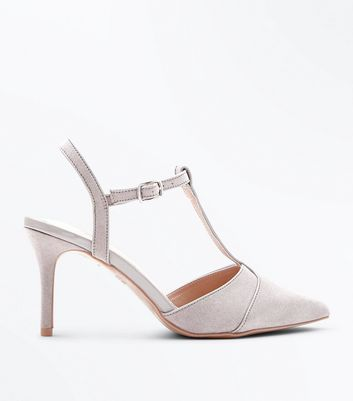 Grey Comfort Flex Suedette T-Bar Pointed Courts New Look