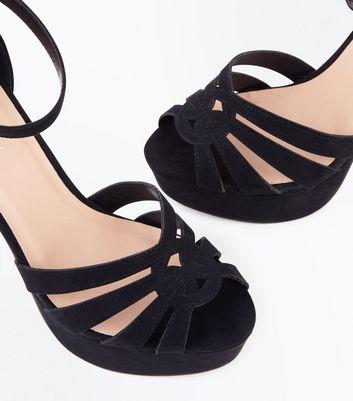 Black Suedette Platform Peep Toe Sandals New Look