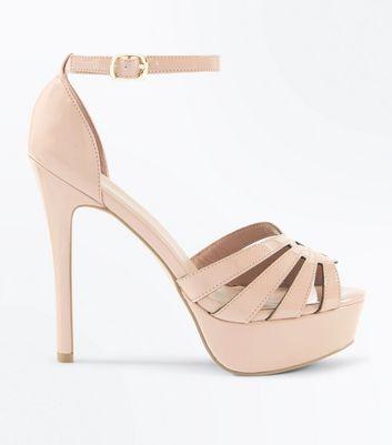 ab8c7bd3f40 Nude Patent Strappy Stiletto Heel Platform Sandals