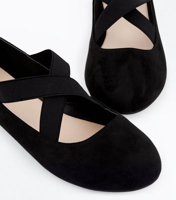 Wide Fit Black Suedette Elasticated Cross Strap Pumps New Look