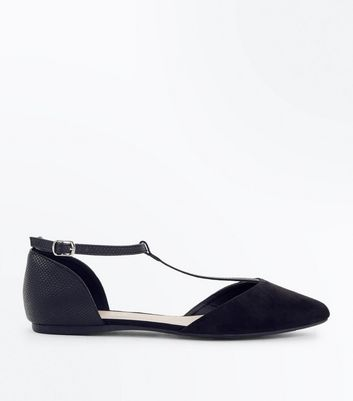 Wide Fit Black Suedette T-Bar Pumps New Look
