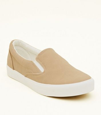 Mink Suedette Slip On Trainers   New Look